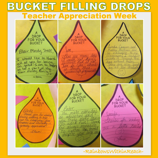 photo of: Fill your Bucket hand written notes of support for Teacher Appreciation Week