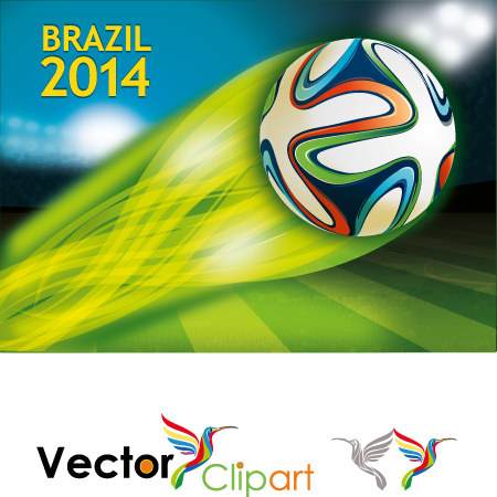 Estadio y balon con estela Brasil 2014 - Vector