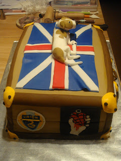 30th Birthday Suitcase Cake with Philadelphia Union and Greenday American Idiot sticker logos