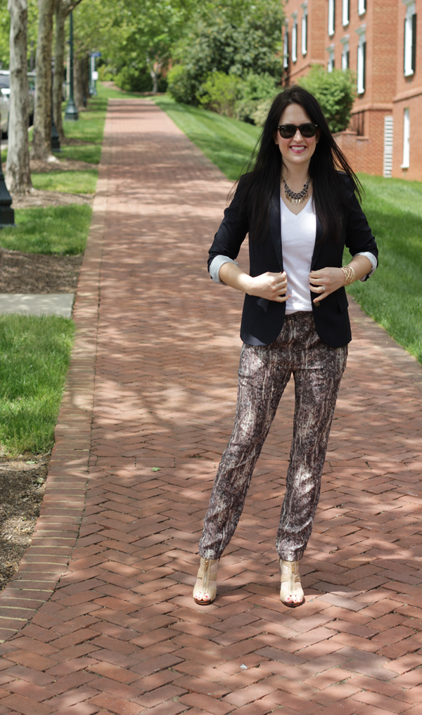 sequin print pants
