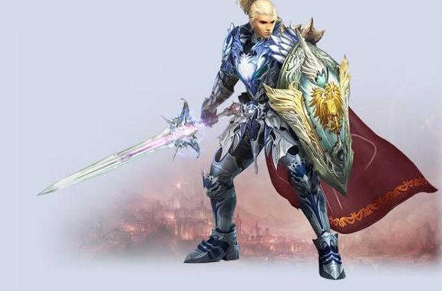 Guardião guerreiro com armadura dourada, escudo e espada