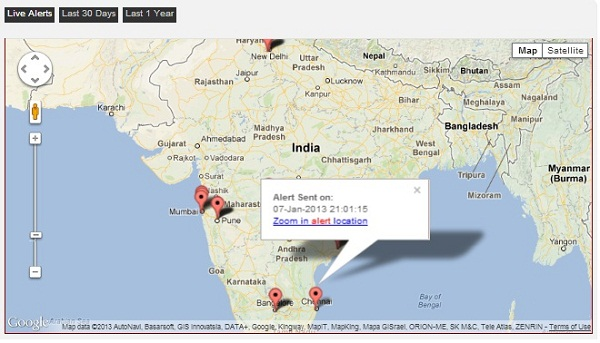 FightBack_Live Alerts Using Google MAps