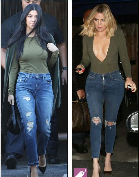 Khloe Kardashian's VERY plunging top steals Kourtney's spotlight as they leave the studio