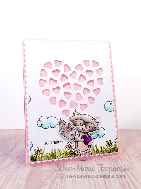 Love Card with Raccoon by Nina-Marie Trapani | Newton's Antics Die set & Sweetheart Tails Stamp Set by Newton's Nook Designs #raccoon #stamps #newtonsnook