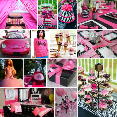 Girl Cover Photos on Hot Pink  Black   White Bridal Shower Ideas   With Vintage Silhouette