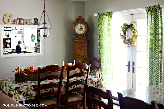 gather sign with fall decor in dining room via www.goldenboysandme.com
