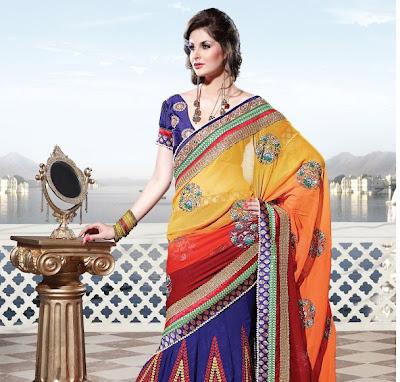 orange colour bridal saree