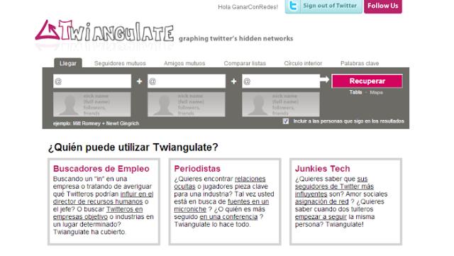 Twiangulate  (Visualizador de los seguidores más y menos influyentes, seguidores comunes o con intereses en común entre 2 o 3 cuentas de Twitter)