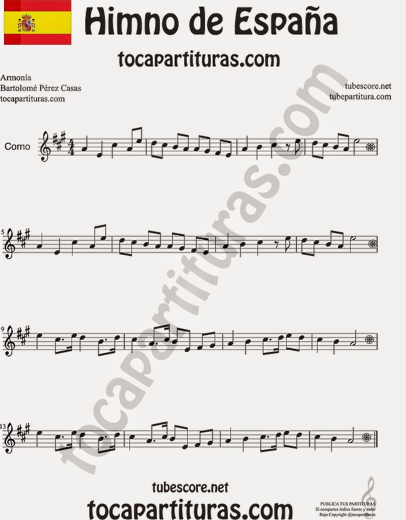 Himno Nacional Español Partitura de Trompa y Corno Francés en Mi bemol Sheet Music for French Horn Music Scores