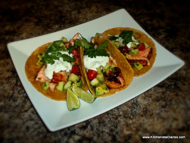 Grilled Salmon Tacos & Cucumber Avocado Salsa - The Kitchenista ...