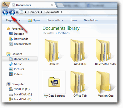 Tombol navigasi windows explorer