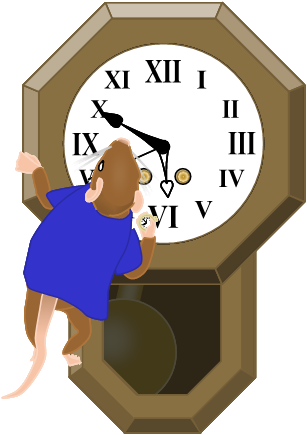 Image: Frank-the-mouse, having clambered on to a schoolhouse regulator clock, checks a golden pocket watch against it. Both read 5:50:42.