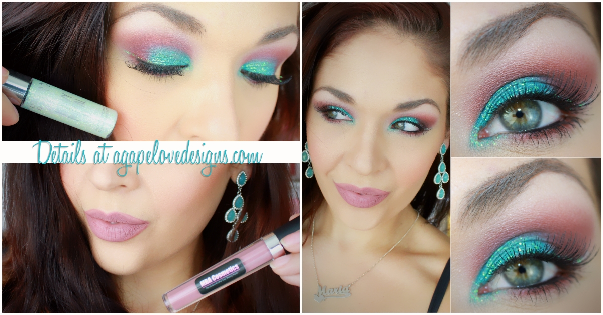 Agape Love Designs Sultry Turquoise Burgundy Glitter Eye Makeup