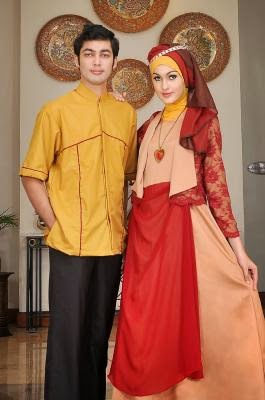 Baju pesta muslim couple modern elegan