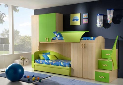 Desain kamar tidur warna hijau dan biru