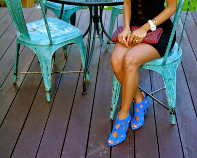 Blue Cut Out Shoes