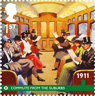 1st class London Unerground stamp - Edwardian Commuters.