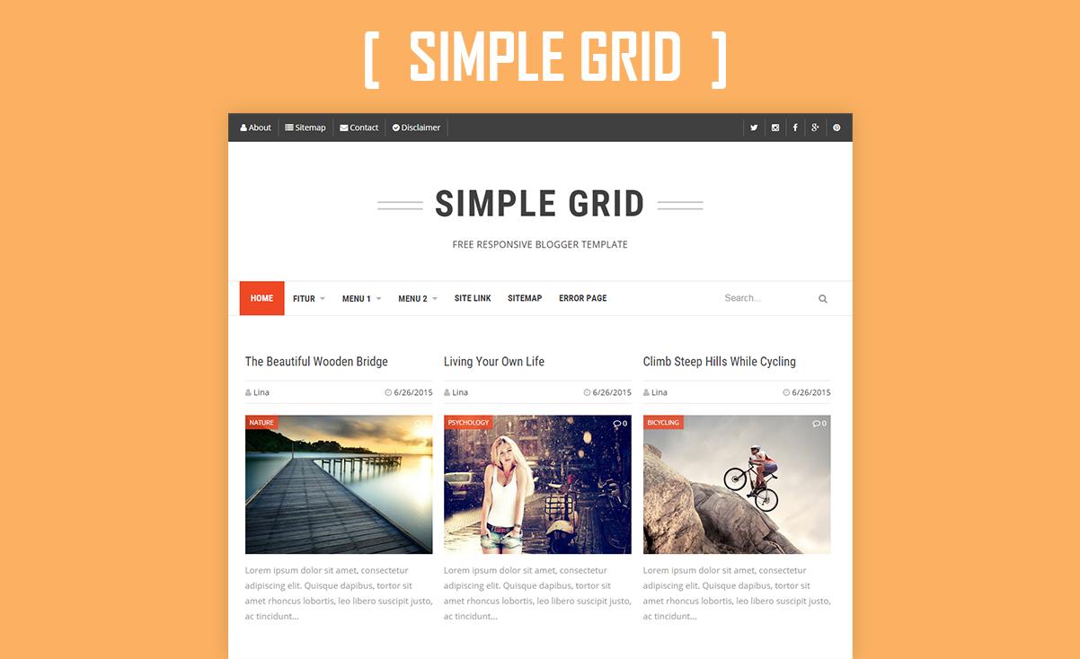 simple grid responsive blogger template adjie krisnandy. Black Bedroom Furniture Sets. Home Design Ideas
