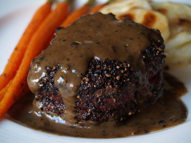 Persimmon and Peach: Steak au Poivre