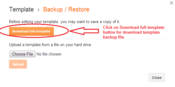 how to backup blogger template