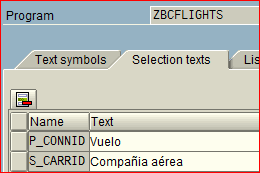 Textos de selección para la pantalla de selección
