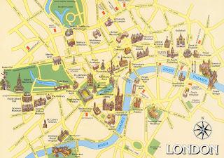 mapa de atrações em Londres