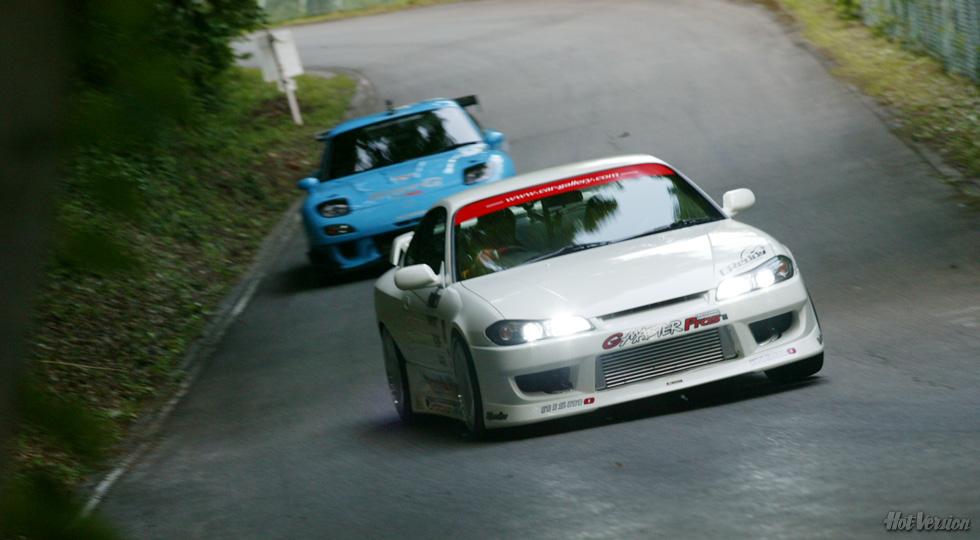 mountain pass, przełęcz, serpentyna, fury, auta, tuning, modyfikacje, touge, Mazda RX-7, Nissan Silvia S15