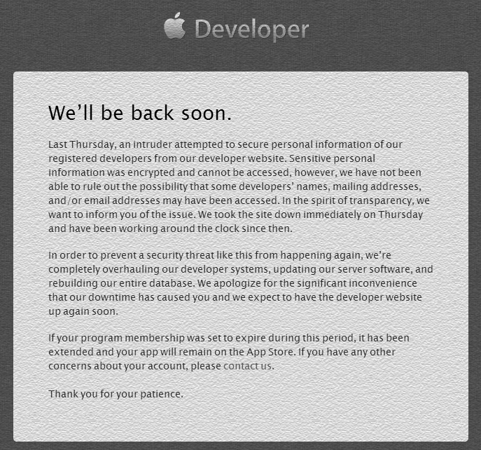 Apple Developer Website Update -We Will Come Back Soon