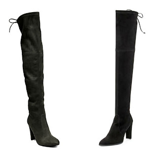 One of these pairs of over the knee boots is from Steve Madden for $150 and the other is from Stuart Weitzman for $798. Can you guess which one is the more expensive pair? Click the links below to see if you are correct!