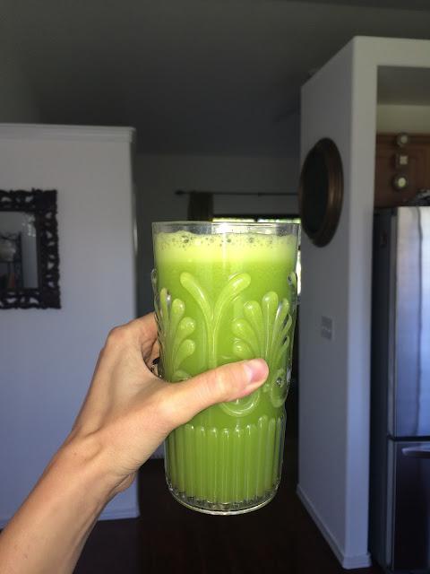 green juice, celery, orange, ginger, detox