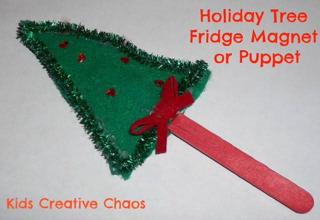 Christmas Tree Craft Stick Fridge Magnet or Holiday Puppet.