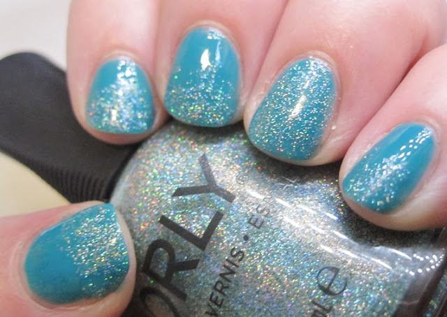 Orly Sparkling Garbage over Priti NYC Blue Wedgewood