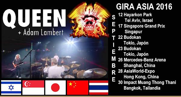 QUEEN + ADAM LAMBERT GIRA ASIA 2016 ¡en septiembre!