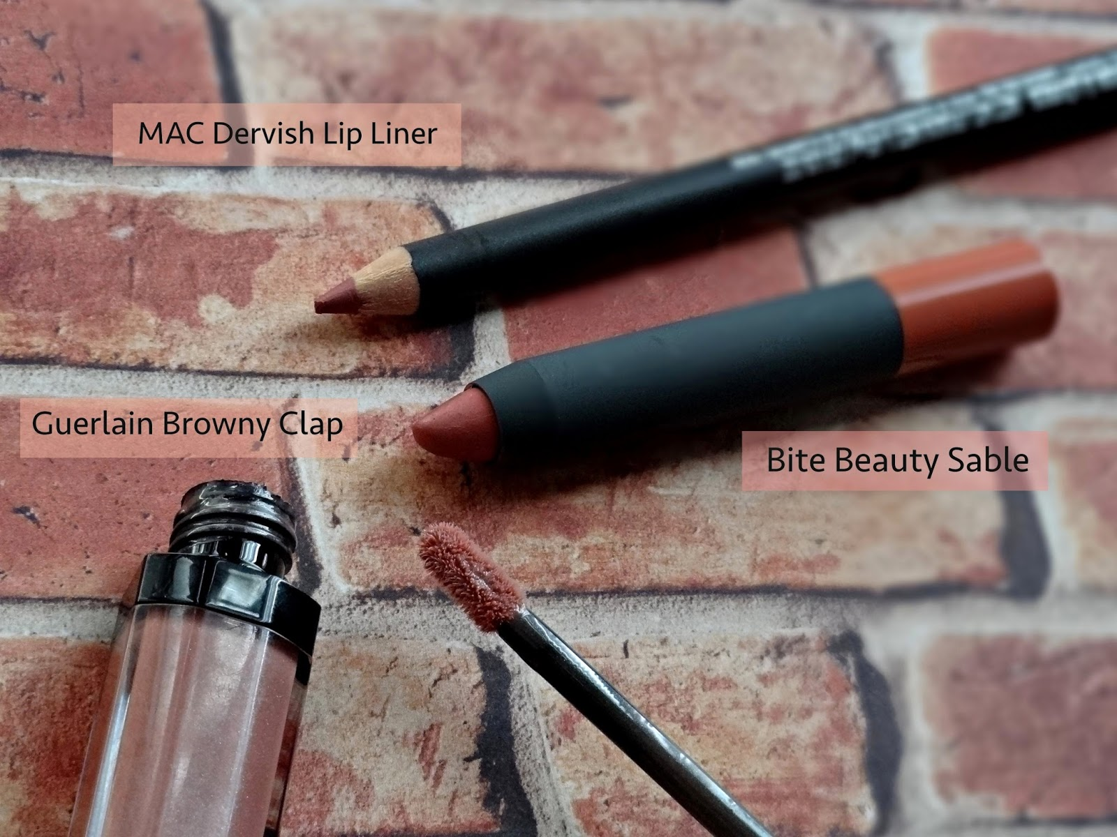 Nude Lips for Medium Dark Skintones - MAC Dervish Lip Liner, Bite Beauty Sable, Guerlain Maxi Shine Lip Gloss in Browny Clap
