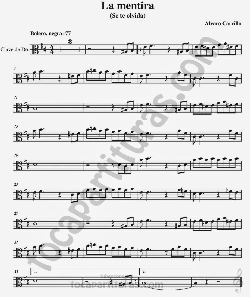 La Mentira Partituras  en Clave de  Do para Viola y otros instrumentos en Clave de Do en 3º Línea…