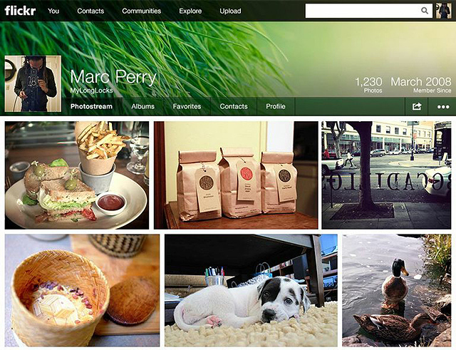 Nueva página de perfil de Flickr