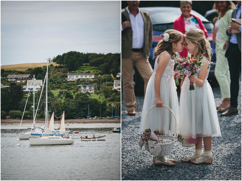 Flower girls playing next to River Dart