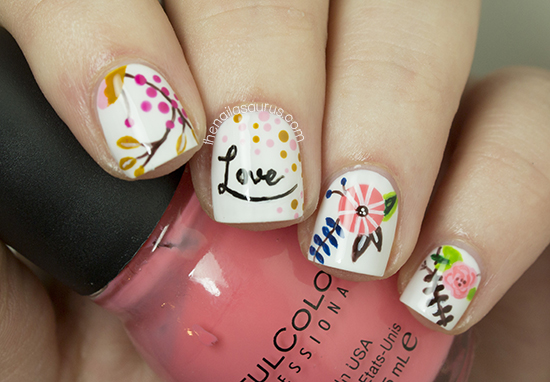 Freehand nail art inspired by lucydarlingprints the nailasaurus freehand nail art inspired by lucydarlingprints prinsesfo Image collections