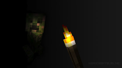 Minecraft creeper in Dark mine with torch