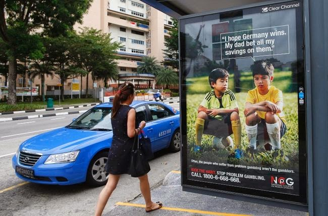 Community ad that delivers warning message about sports gambling based on World Cup 2014, Singapore