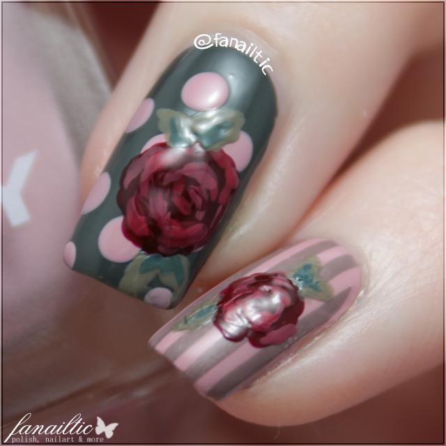 vintage roses nailart
