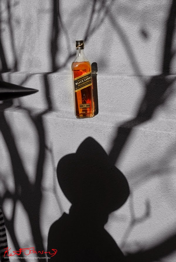 Johnnie Walker Black Label Whisky photographed in a Film Noir style for a father's day, Social Media Promotion.