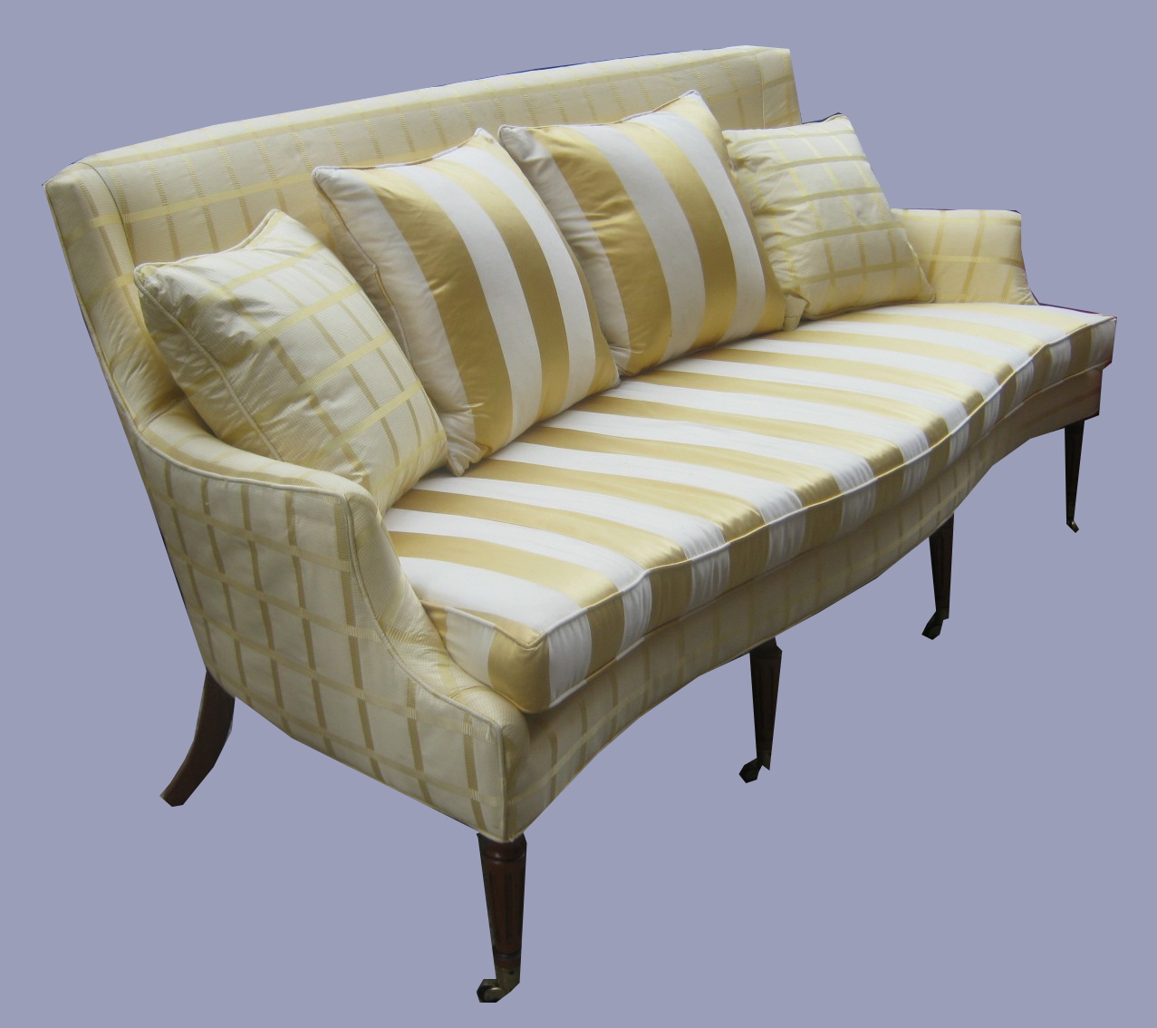Uhuru Furniture Collectibles Sheraton Style Sofa In Silk Upholstery Sold