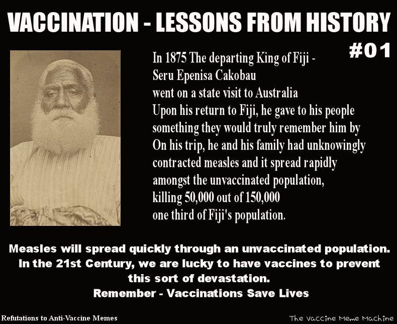 VaccinationLessonsFromHistory refutations to anti vaccine memes 2013