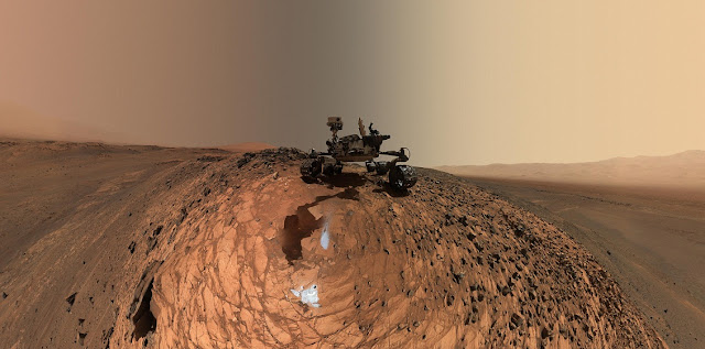 "This low-angle self-portrait of NASA's Curiosity Mars rover from Aug. 5, 2015, shows the vehicle above the ""Buckskin"" rock target in the ""Marias Pass"" area of lower Mount Sharp. Credit: NASA/JPL-Caltech/MSSS"