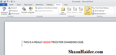 how to change word document without red underline