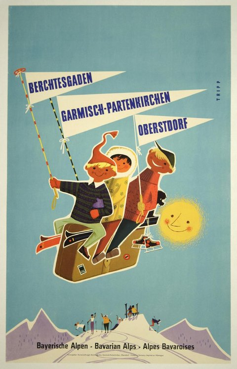 classic posters, free download, graphic design, retro prints, travel, travel posters, vintage, vintage posters, Bavarian Alps, Germany, Austria - Vintage Skiing Travel Poster