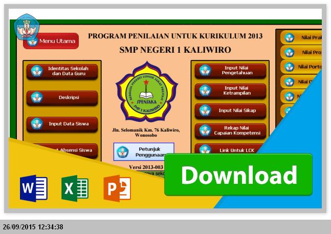 Aplikasi Penilaian dan Pengisian Rapot SMP/MTs Kurikulum 2013 dengan rumus Excel