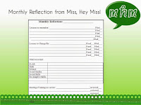 Miss, Hey Miss! Monthly reflection sheet