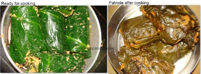 Patrode Recipe_Battered leaves rolled for baking+cooking spice